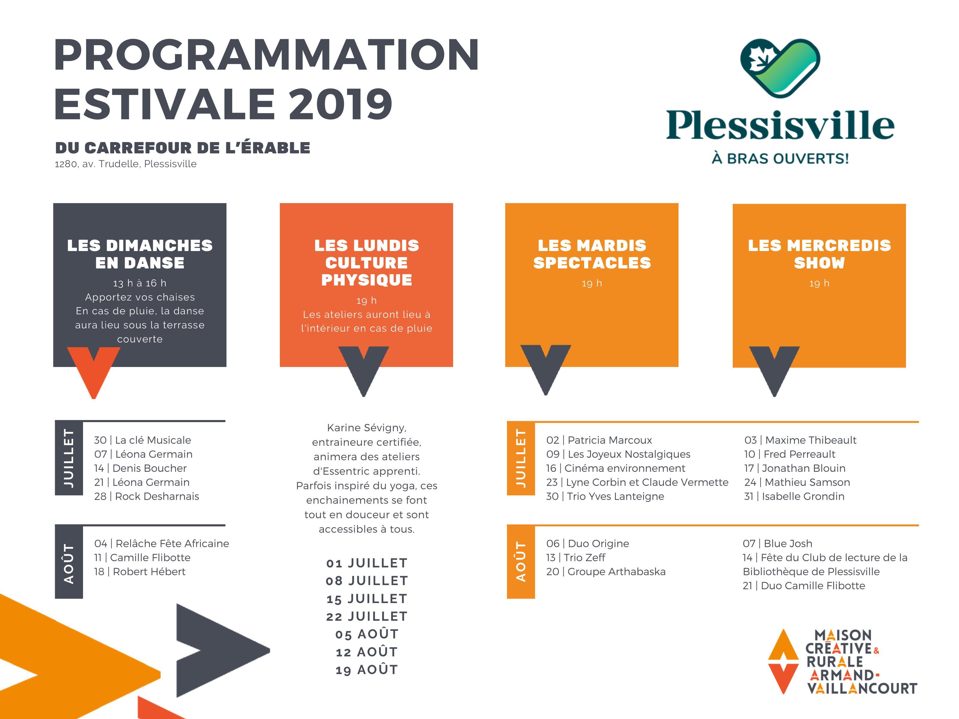 Programmation estivale été 2019 Carrefour de L'Érable