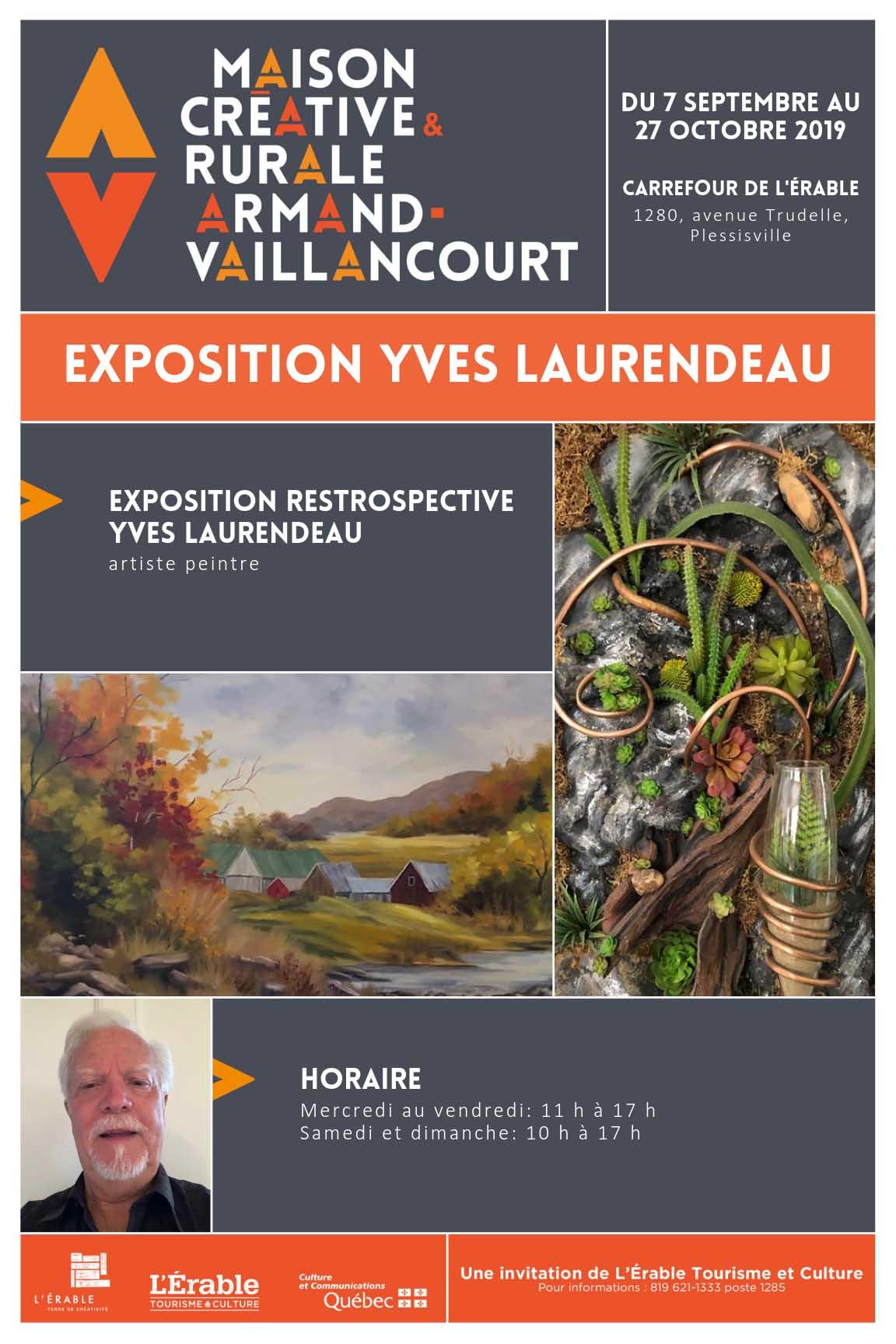 Exposition de Yves Laurendeau au Carrefour de L'Érable à l'automne 2019