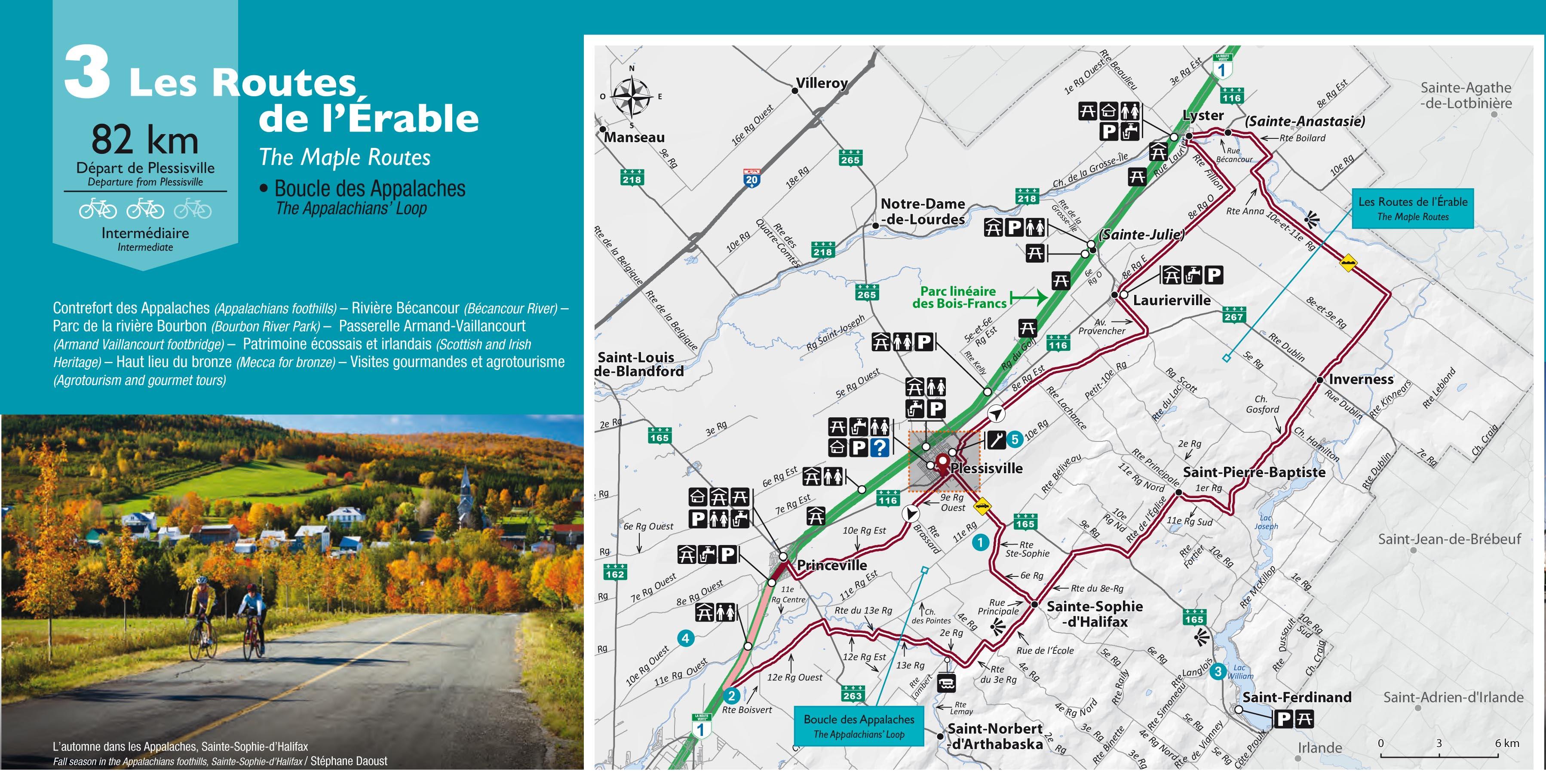 Parcours visuel des routes de L'Érable